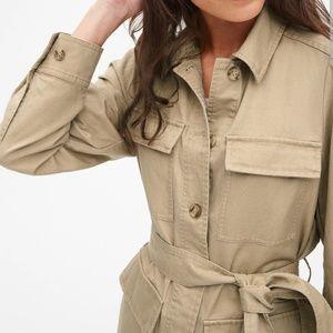 GAP Cotton Linen puff sleeve safari utility jacket